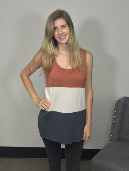 Striped Cotton Sweater Vest Top in Rust