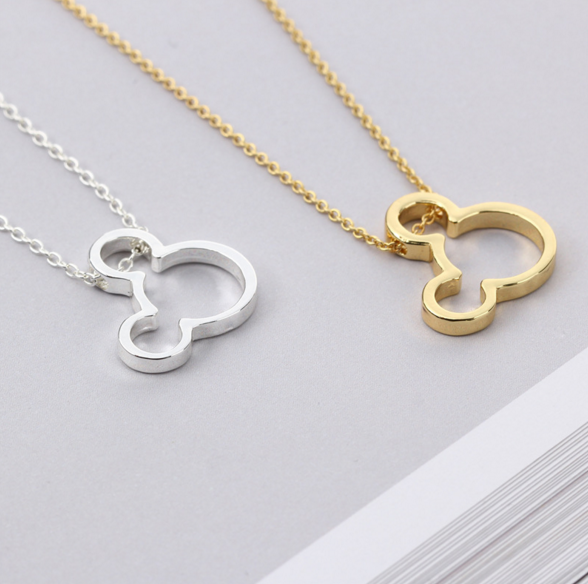 Minimalist Mickey Mouse Necklace in Silver or Gold