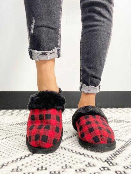 "Corky's ""Snooze"" Red Buffalo Plaid Slipper Shoe"