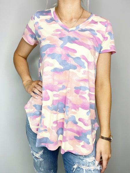 HoneyMe Purple and Navy V-neck Short Sleeve Top