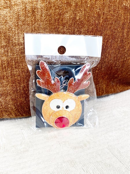 ROLY-POLY GLITTER REINDEER  PIN/PENDANT