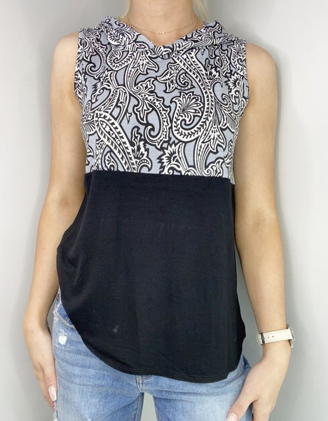 SMALL ONLY - Black and Gray Top with Contrast