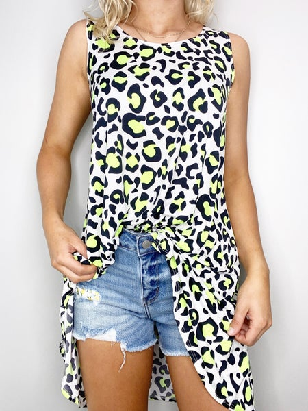 SM & MED ONLY Leopard Print Tunic in Lime and Black