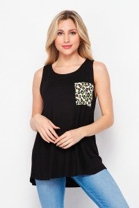 MED ONLY Black Sleeveless Top with Leopard Pocket Detail