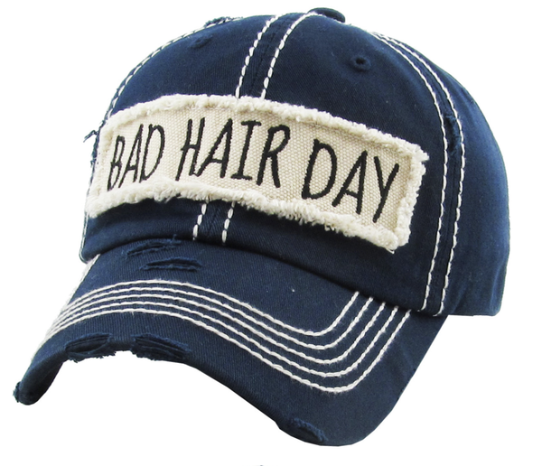 BAD HAIR DAY WASHED VINTAGE HAT IN NAVY OR MOSS