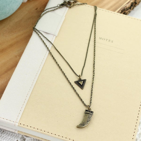 "14"" & 16"" Vintage Finish Triangle & Horn Necklace Set"