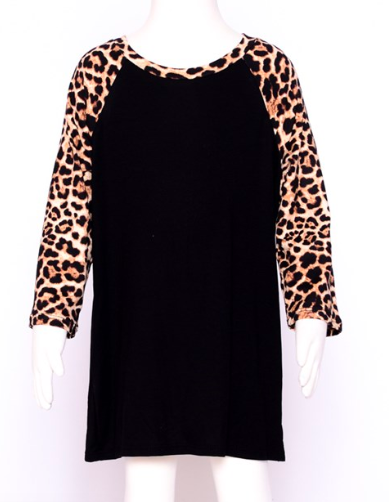 Youth Black Raglan Top with Leopard Sleeves (Mommy&Me Set)