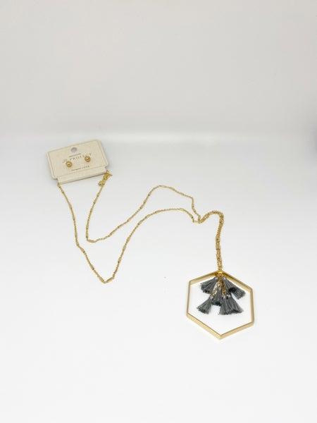 A Project Gold Hexagon Tassel Necklace & Earrings