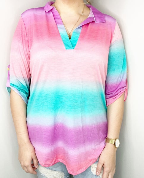 """SMALL ONLY Heimish Ombre """"Gabby"""" Fuchsia and Teal Stripe"""