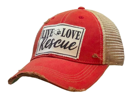 """Live Love Rescue"" Distressed Trucker Cap"