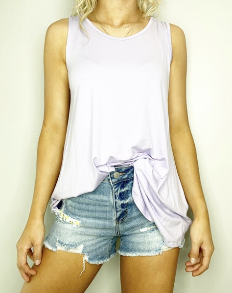 SMALL ONLY Lace Back Cut Out Tank in Lilac