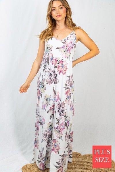 Sleeveless Floral Print Knit Dress