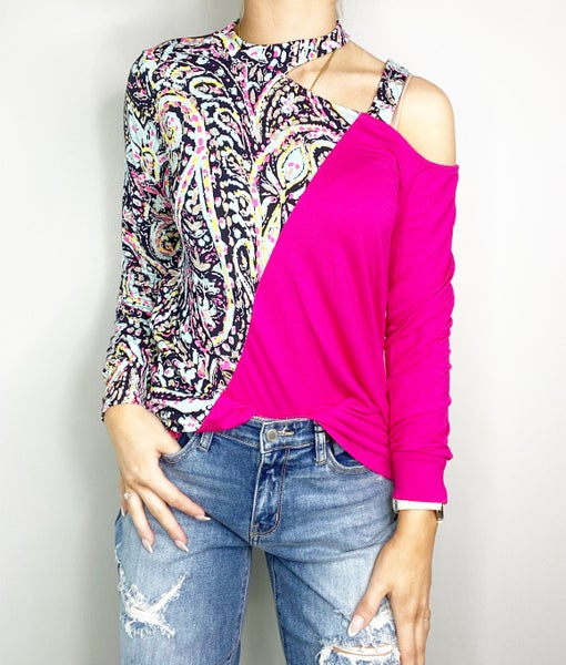 Black and Neon Pink with Contrast Top