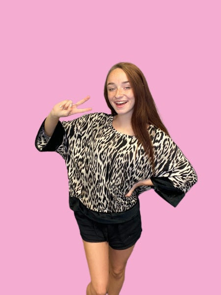 Black and Taupe Animal Print Oversized Top with Black Trim