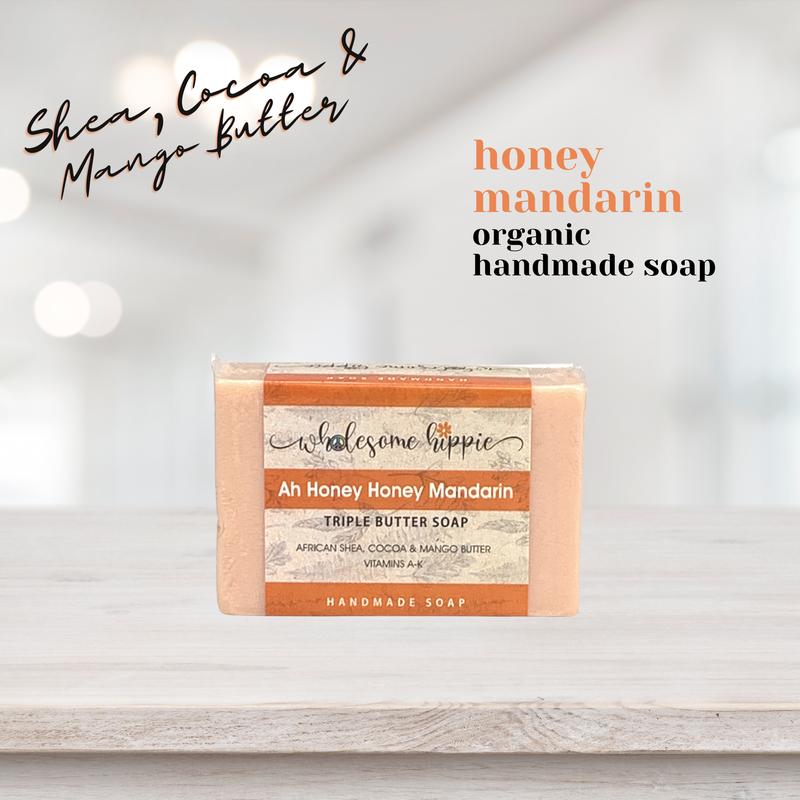 6.6 oz Triple Butter Artisanal Soap - Ah Honey Honey Mandarin