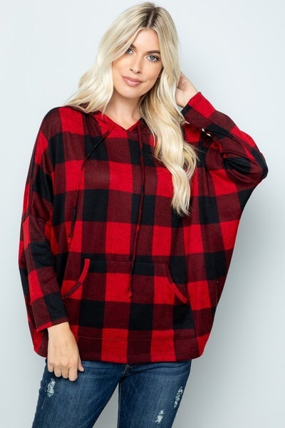 SMALL ONLY - Buffalo Check Dolman Hoodie in Red