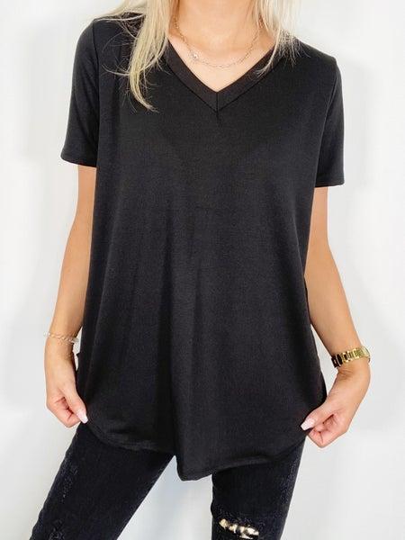 Short Sleeve V-Neck Top -Black