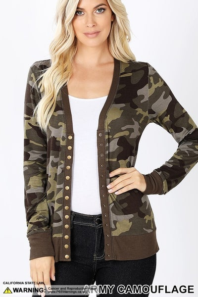 Camoflage Snap Button Cardigan in Army Camouflage