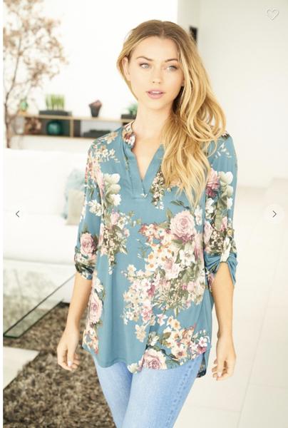 Floral Print V-neck Top in Teal