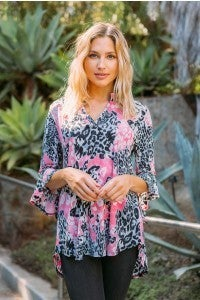 Pink and Leopard New Gabby with  Ruffle Sleeves