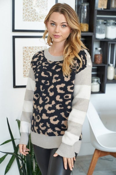 White Birch Stripe and Leopard Sweater