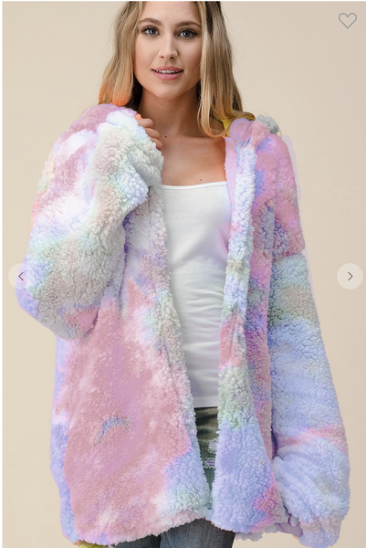 !Tie Dye Fluffy Jacket in Pink and Blue