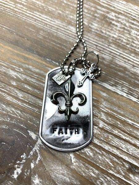 Kate Mesta Black & Silver Collection Faith Fleur-De-Lis