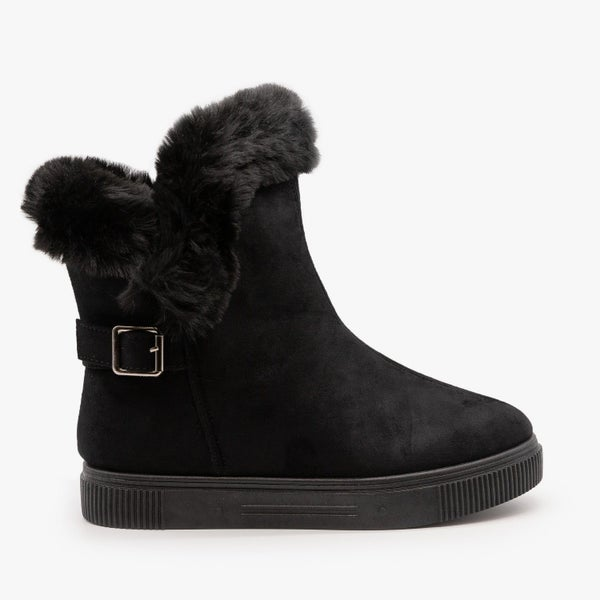Bamboo Fur Cuffed Comfort Black Booties