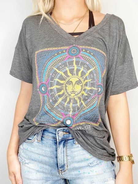One with the Sun Graphic Tee - Grey
