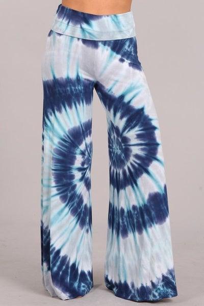 Blue Multi Tie Dye Wide Leg Palazzo Pants