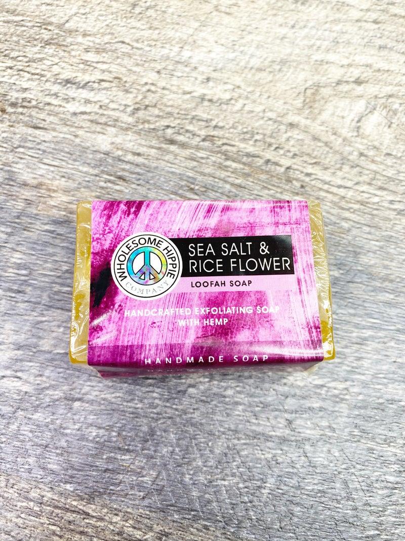 RETIRING WH 4.5oz Sea Salt & Rice Flower Loofah Soap