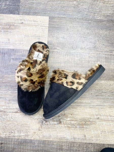 Corkys Snooze Black and Leopard Slippers