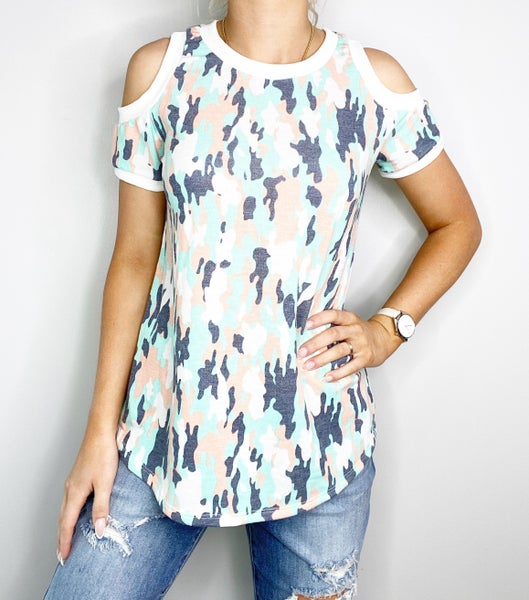 Mint and Peach Top with Cold Shoulder