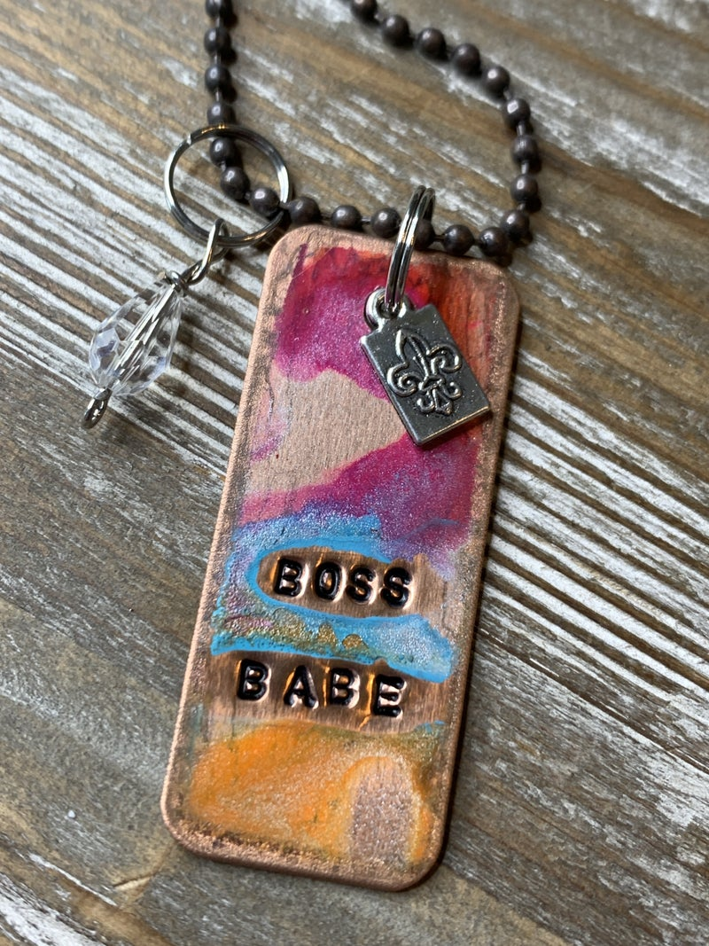 Kate Mesta Boss Babe Hand Painted Dog Tags