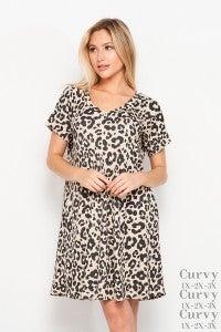 Ribbed V-Neck Leopard Dress