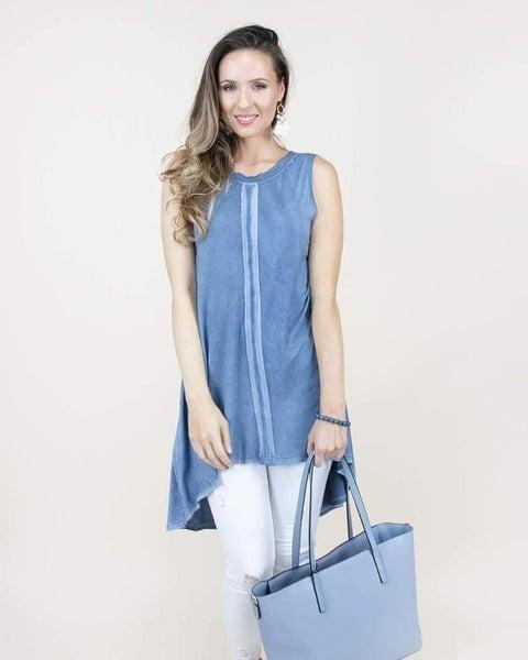 S/M ONLY - Denim Center Hemmed Sleeveless Tunic/Dress