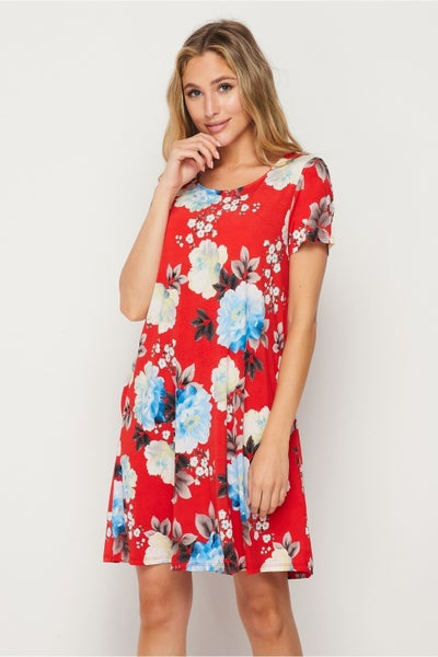 LAST ONE - HoneyMe Red, White, and Floral Summer Dress