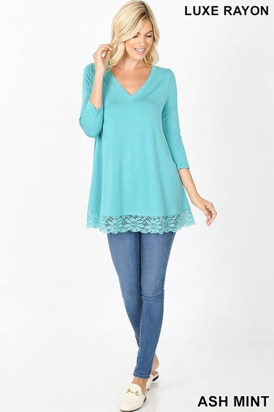 Luxe Rayon Lace Trim Hem Tunic Top in Ash Mint