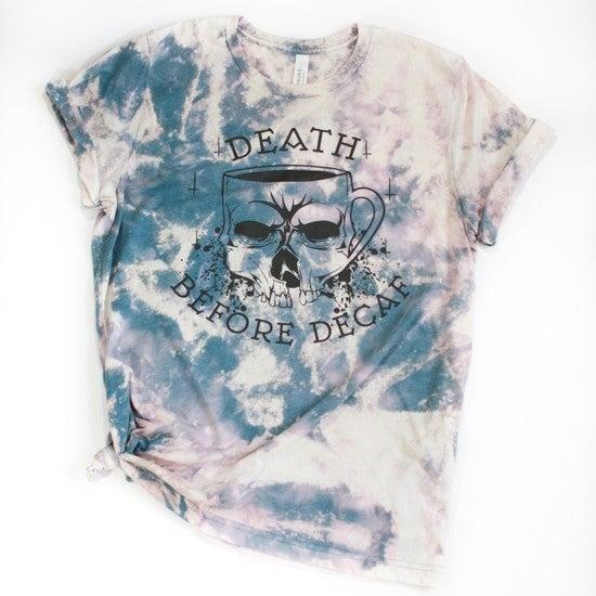 Death Before Decaf Tie Dye Graphic Tee