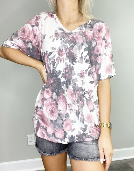 Floral Short Sleeve Dolman in Off White