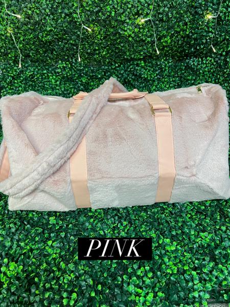 !Faux Fur Weekender Bag in Pink, Cream, and Tie Dye