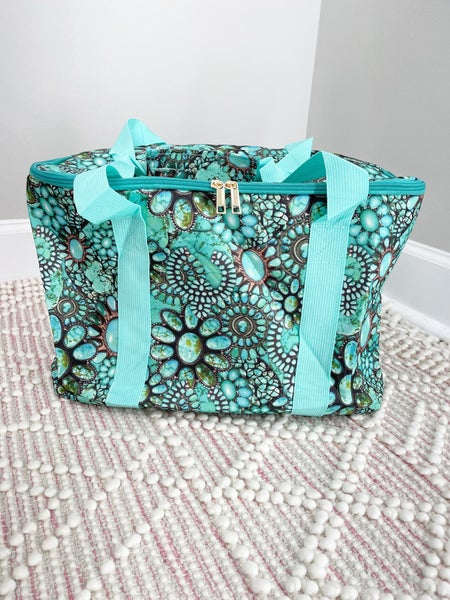 Floral/Turquoise Cooler Tote