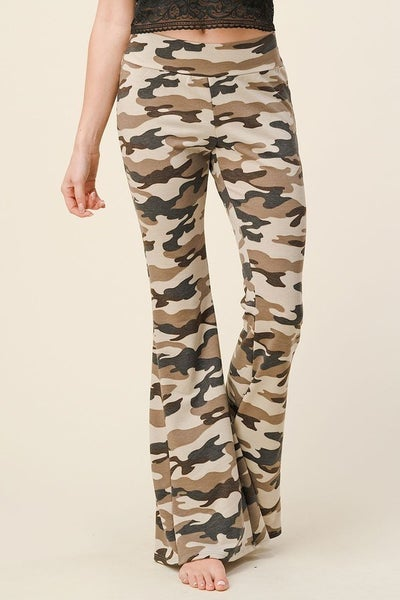 SMALL ONLY Camo Printed Flare Pants in Tan and Mocha