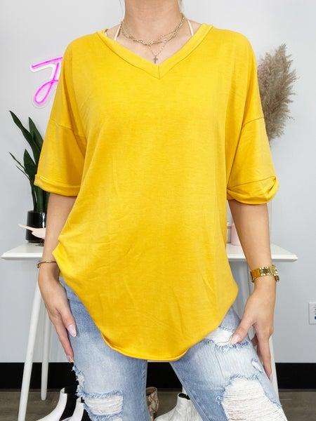 Mustard V-Neck Short Sleeve Top