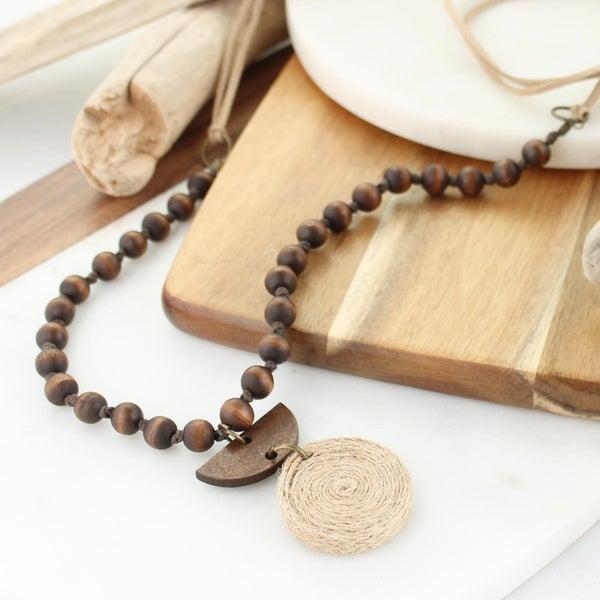 "38"" Twine & Wood Semi Circle Necklace"