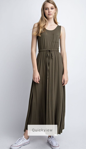 Maxi Dress Olive with Drawstring