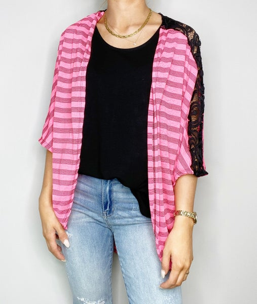 SMALL &  MED ONLY - Lace Detail Kimono Cardigan in Hot Pink