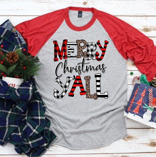LARGE ONLY - Merry Christmas Y'all 3/4 Sleeve Raglan Graphic Tee