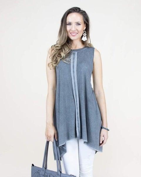 Charcoal Center Hemmed Sleeveless Tunic/Dress