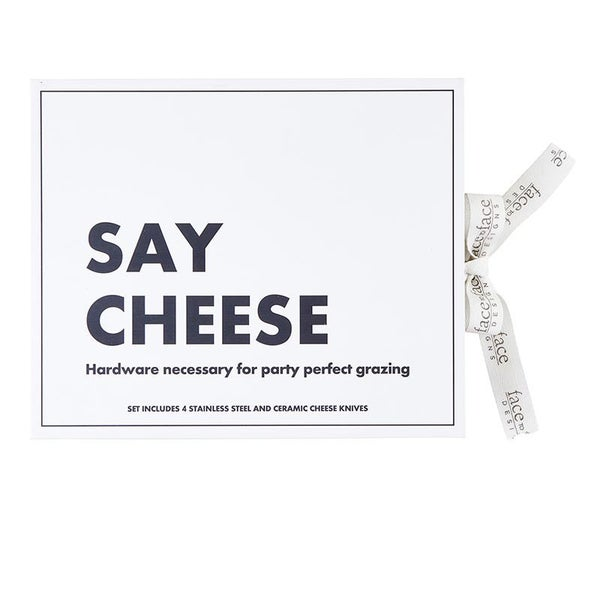 Face to Face Cardboard Book Set - Say Cheese Ceramic Cheese Knives - Set of 4